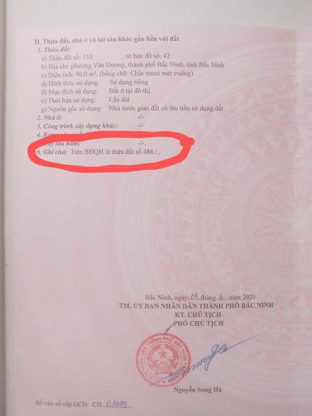 Chính Chủ Bán Lô 486 Chu Mẫu Vân Dương Thành Phố Bắc Ninh, Bắc Ninh - 536080