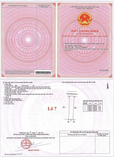 Chỉ Còn Đúng 2 Lô 2 Mặt Tiền Tại Cam Lâm. Đã Có Sổ. Giá Chỉ Từ 8Tr-9Tr/M2 - 563071