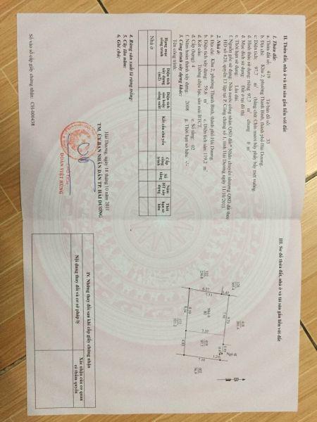 Bán Nhà Ngõ 88 Vũ Hựu, Ph Thanh Bình Tp Hd, 2.5 Tầng, 97.7M2,  Sân Cổng, Chỉ 1 Tỷ 899 Tr - 568231