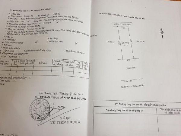 Bán Đất Mặt Đường Trường Chinh, Ph Thanh Bình, Tp Hd, 60.75M2, Mt 4.5M, Vị Trí Cực Đẹp - 569716